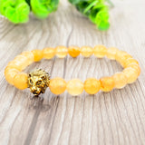 Gold Lion Charm Courage Bracelet - Yellow Aventurine - Prima Petal - Yoga Jewelry