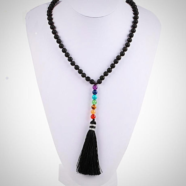 Black Lava Rock Beads with 7 Chakra Tassel Necklace - Yoga Jewelry - Prima Petal