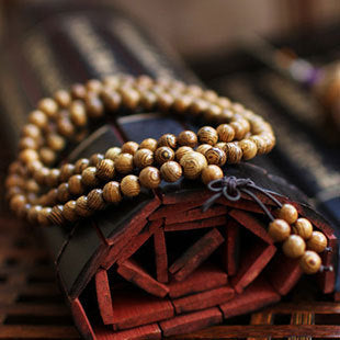 Wenge Natural Wood 108 Mala Bracelet/Necklace - Yoga Jewelry