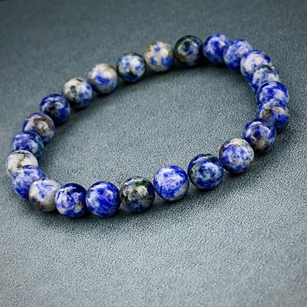 Natural Stone Beads Bracelet - Blue Sodalite - Yoga Jewelry - Prima Petal