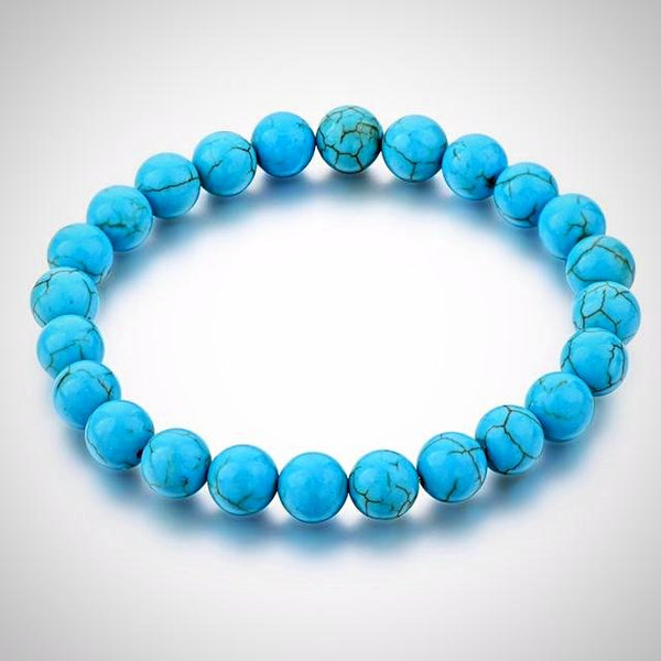 Natural Stone Beads Bracelet - Blue - Yoga Jewelry - Prima Petal