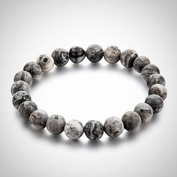 Natural Stone Beads Bracelet - Grey - Yoga Jewelry - Prima Petal