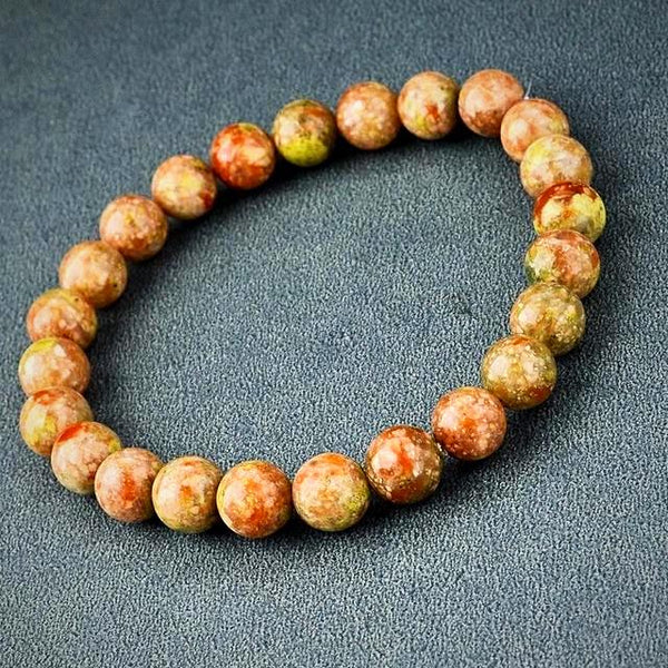 Natural Stone Beads Bracelet - Light Brown - Prima Petal - Yoga Jewelry