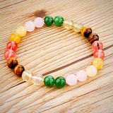 Natural Stone Beads Bracelet - Multicolor - Yoga Jewelry - Prima Petal