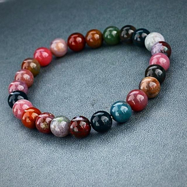 Natural Stone Beads Bracelet - Red Multicolour - Prima Petal - Yoga Jewelry