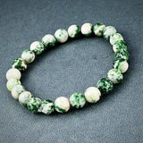 Natural Stone Beads Bracelet - White/Green - Prima Petal - Yoga Jewelry