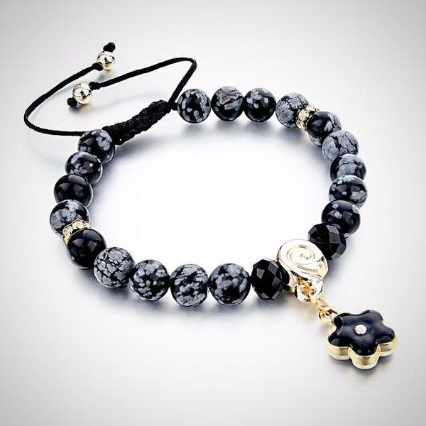 Natural Stone Bracelet with Black Flower Charm - Yoga Jewelry - Prima Petal