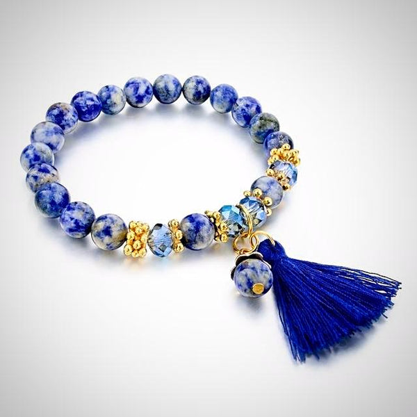 Natural Stone Sodalite Bracelet with Tassel - Blue - Prima Petal - Yoga Jewelry
