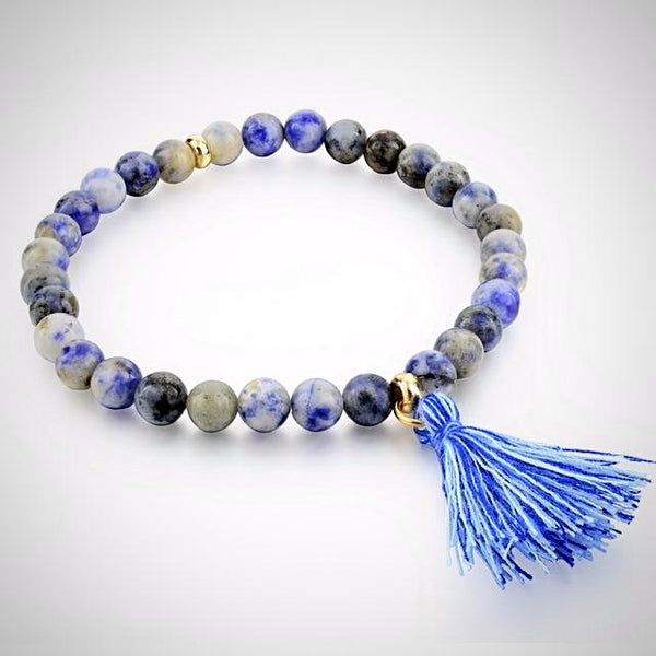 Natural Stone Bracelet with Tassel - Blue - Prima Petal - Yoga Jewelry