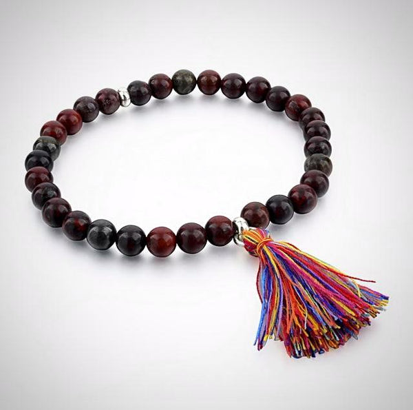 Natural Stone Bracelet with Tassel - Red - Prima Petal - Yoga Jewelry