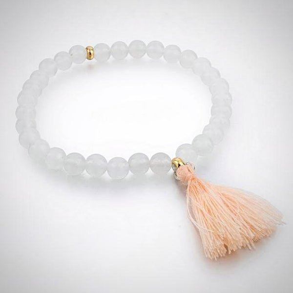 Natural Stone Bracelet with Tassel - Ice White - Yoga Jewelry - Prima Petal