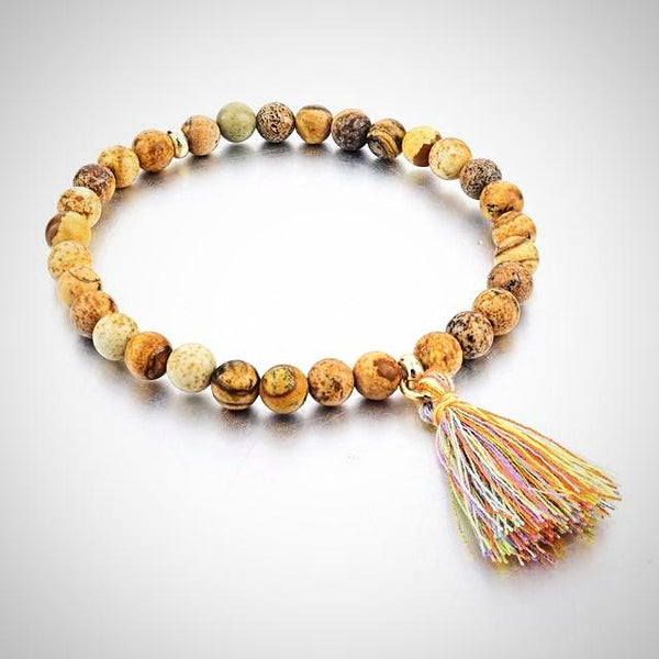 Natural Stone Bracelet with Tassel - Beige - Prima Petal - Yoga Jewelry
