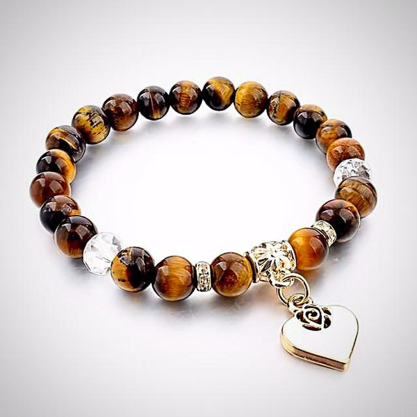 Natural Stone Bracelet with Heart Charm  - Tiger Eye - Yoga Jewelry - Prima Petal