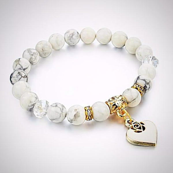 Natural Stone Bracelet with Heart  Charm - White Turquoise - Prima Petal - Yoga Jewelry