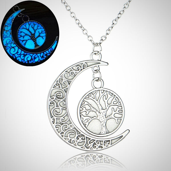 Crescent Moon with Tree of Life Glow in the Dark Pendant Necklace - Yoga Jewelry - Prima Petal