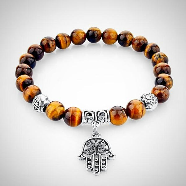 Tiger Eye Bracelet with Fatima Hand - Yoga Jewelry - Prima Petal