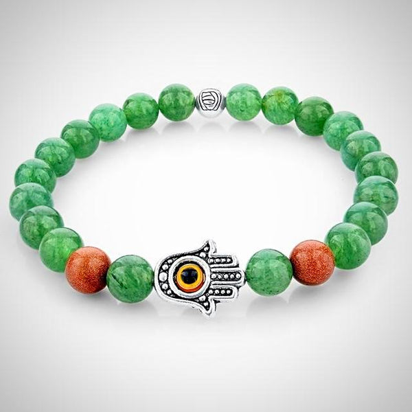 Green Natural Stone Bracelet with Fatima Hand - Prima Petal - Yoga Jewelry
