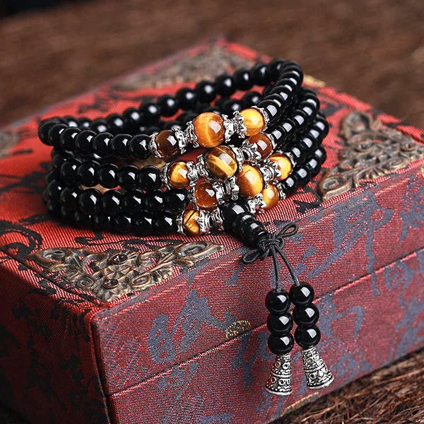 108 Black Onyx Mala Beads Wrap Bracelet / Necklace - Tiger Eye - Prima Petal - Yoga Jewelry