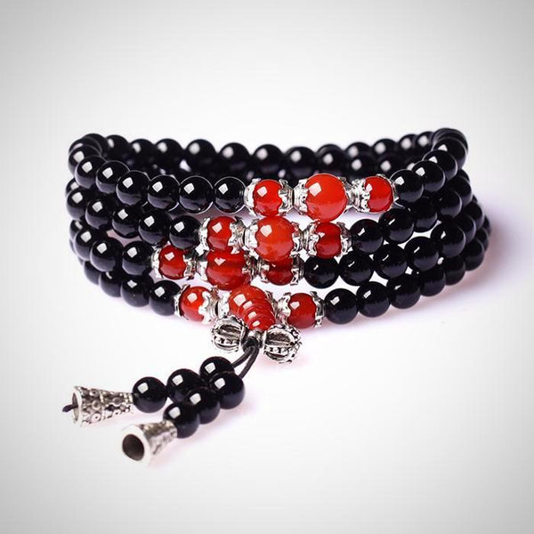 108 Black Onyx Mala Beads Wrap Bracelet / Necklace - Red Agate - Yoga Jewelry - Prima Petal
