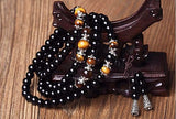 108 Black Onyx Mala Beads Wrap Bracelet / Necklace - Tiger Eye - Yoga Jewelry - Prima Petal