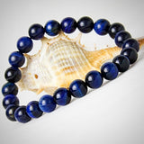 Blue Tiger Eye Natural Stone Bracelet - 6 mm/ 8 mm/ 10 mm Beads - Yoga Jewelry - Prima Petal