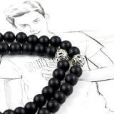 Natural Matte Black Onyx Mala Necklace - Style 2 - Prima Petal - Yoga Jewelry