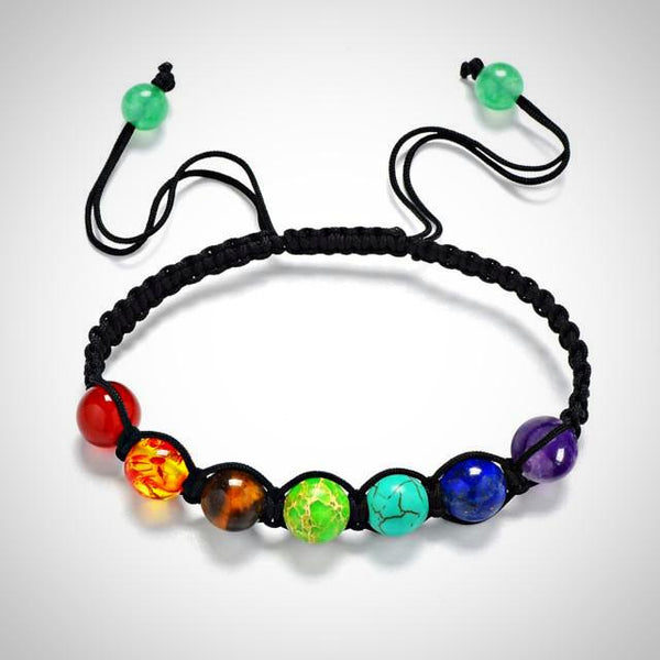 7 Chakra Unisex Adjustable Rope Bracelet - Yoga Jewelry - Prima Petal