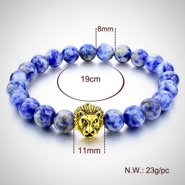 Gold Lion Charm Courage Bracelet - Sodalite - Yoga Jewelry - Prima Petal