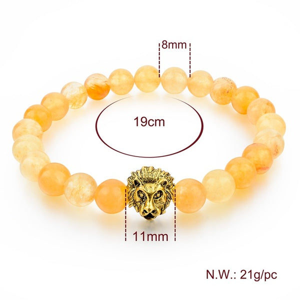 Gold Lion Charm Courage Bracelet - Yellow Aventurine - Yoga Jewelry - Prima Petal
