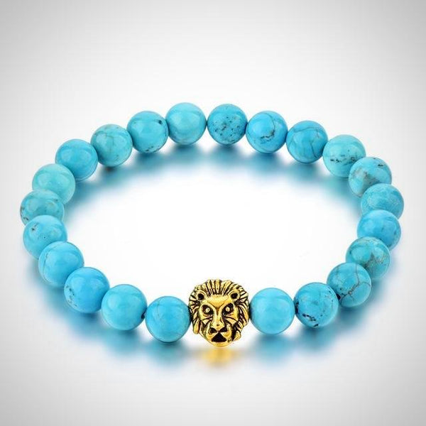 Gold Lion Charm Courage Bracelet - Blue - Yoga Jewelry - Prima Petal