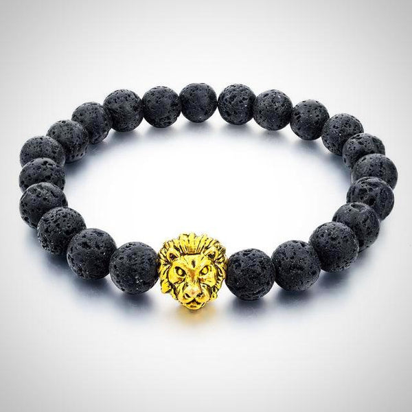 Gold Lion Charm Courage Bracelet - Lava - Prima Petal - Yoga Jewelry