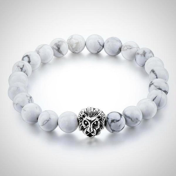 Lion Charm Courage Bracelet - White - Prima Petal - Yoga Jewelry