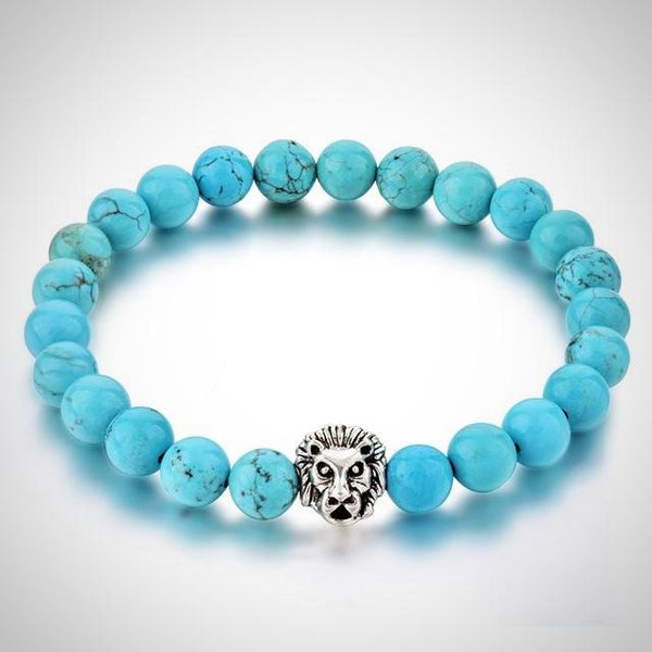Silver Lion Charm Courage Bracelet - Blue - Prima Petal - Yoga Jewelry