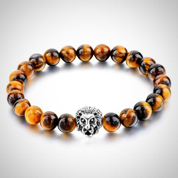 Lion Charm Courage Bracelet - Tiger Eye - Prima Petal - Yoga Jewelry