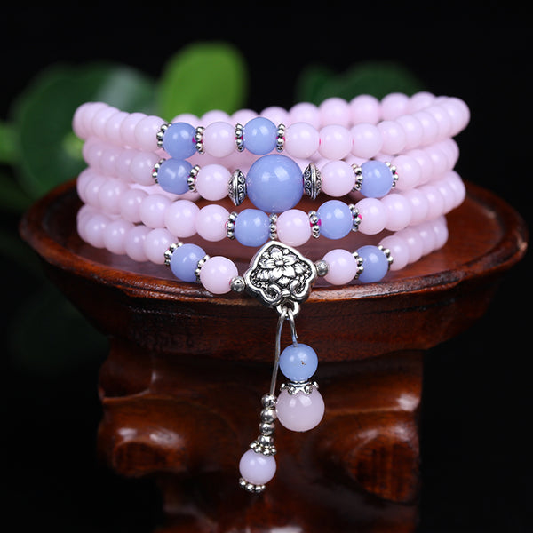 Pink Chalcedony 108 Mala Beads Wrap Bracelet / Necklace - Prima Petal - Yoga Jewelry