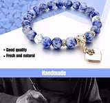 Natural Stone Bracelet with Heart Charm - Blue Sodalite - Yoga Jewelry - Prima Petal