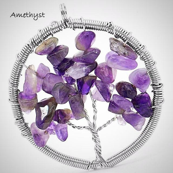 Tree of Life Gem Stone Chip Round Pendant - Prima Petal - Yoga Jewelry