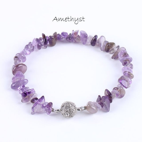 Natural Gem Stone Chips Beads Bracelet with Magnetic CZ Ball - Yoga Jewelry - Prima Petal