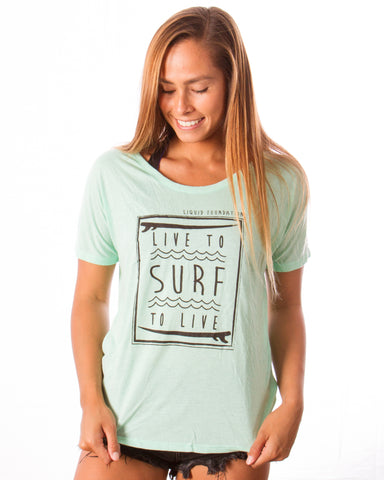 LF SURF - LIVE TO SURF SCOOP NECK T