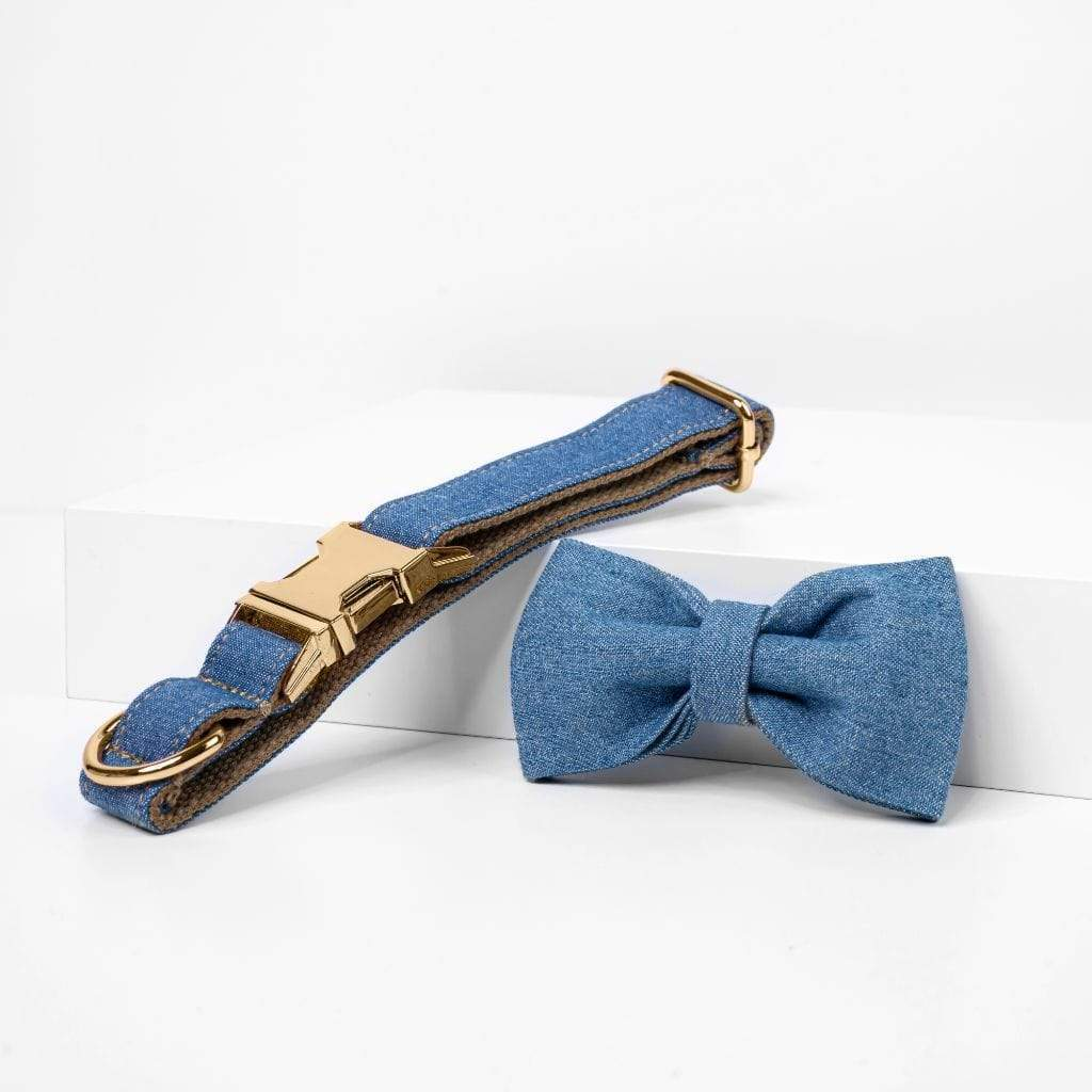 Denim Bow Tie Dog Collar-Barker & Bone
