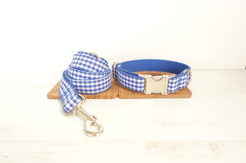 Blue Plaid Dog Collar  & Leash Set - Barker & Bone
