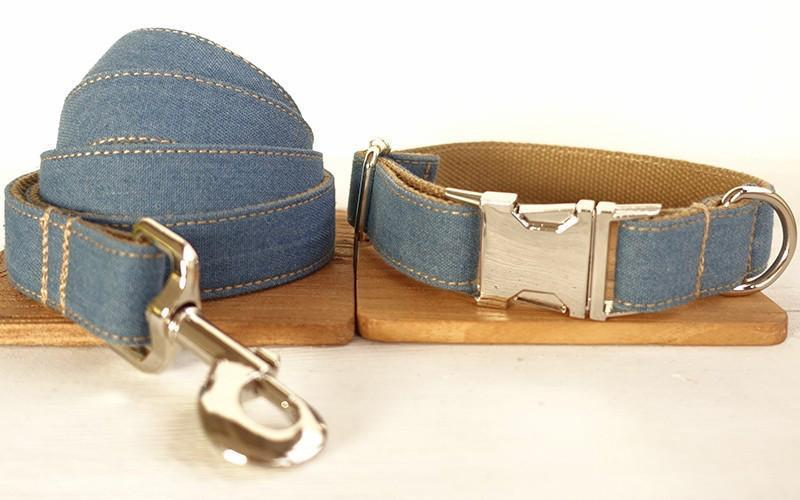Denim Dog Collar & Leash Set - Barker & Bone