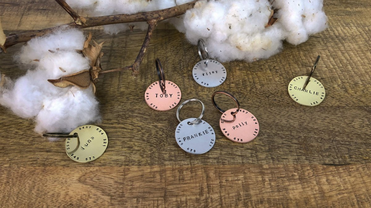 Hand Stamped Dog Tag | Two Number - Barker & Bone