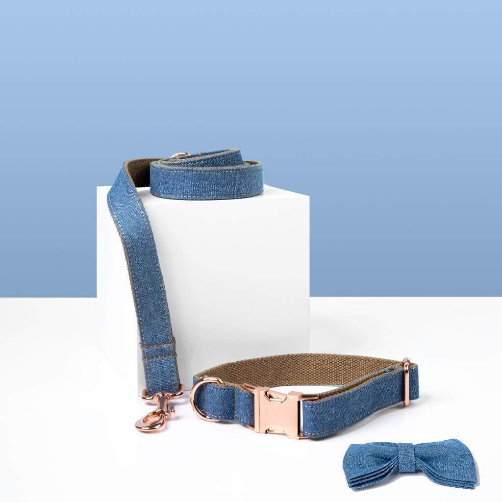 Luxe Dog Collar & Leash | Denim - Barker & Bone
