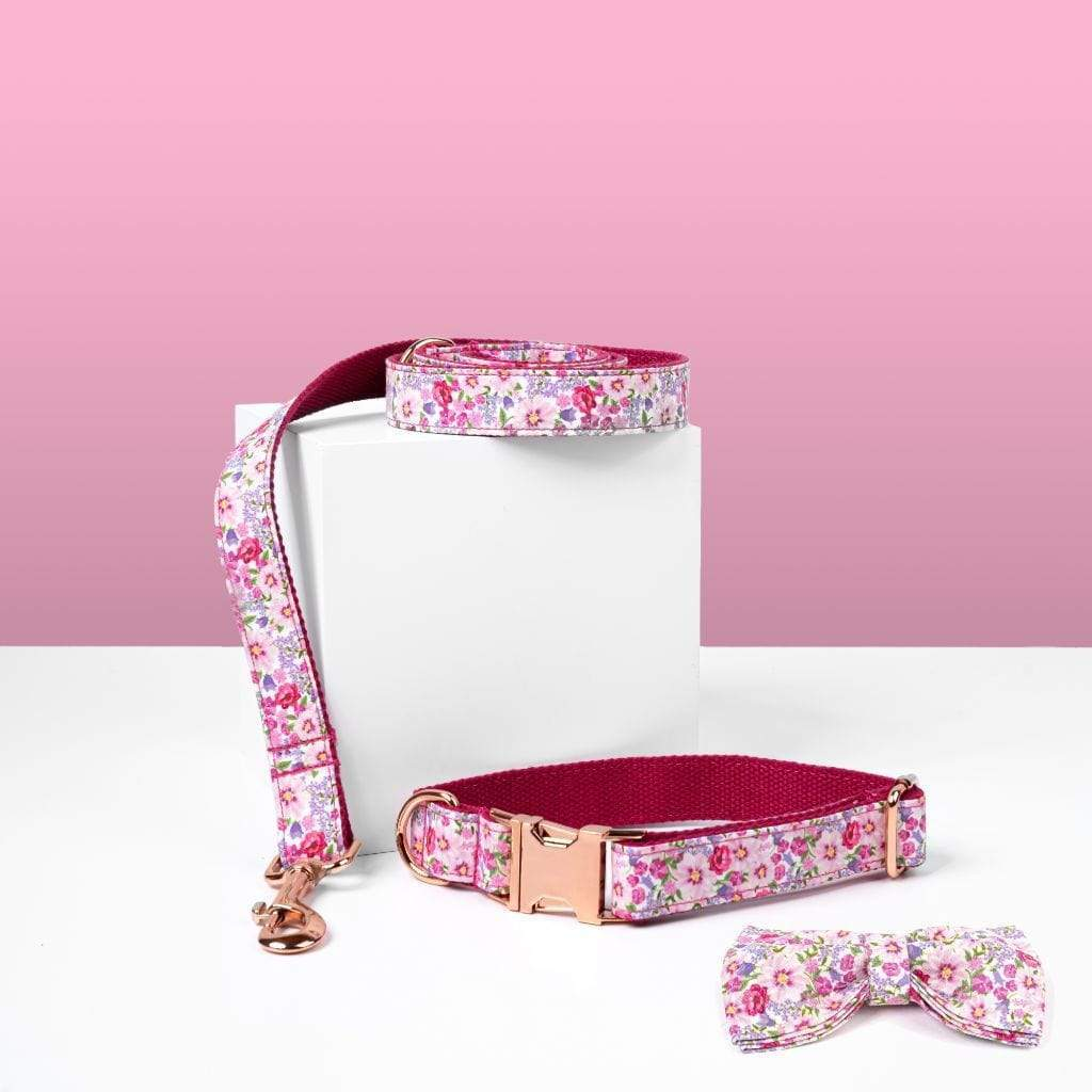 Luxe Dog Collar & Leash | Pink Flower - Barker & Bone