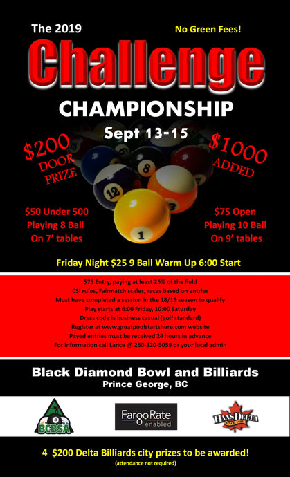 The 2019 Challenge Championship Sept. 13-15 - Open 10 Ball