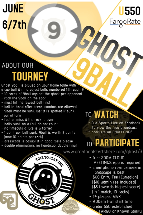 UNDER 550 - GHOST 9 BALL TOURNAMENT - JUNE 6 & 7