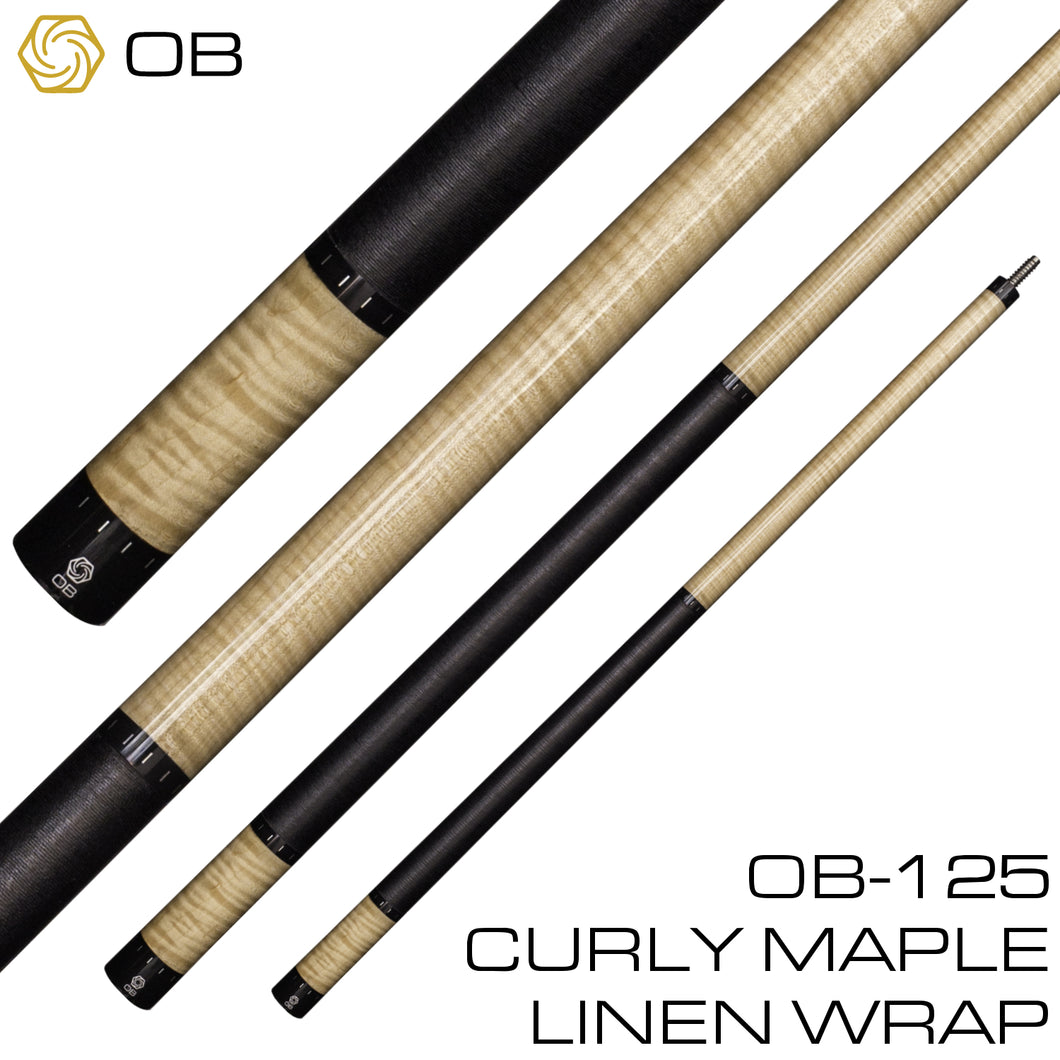 OB-125 Pool Cue - Curly Maple - Linen Wrap