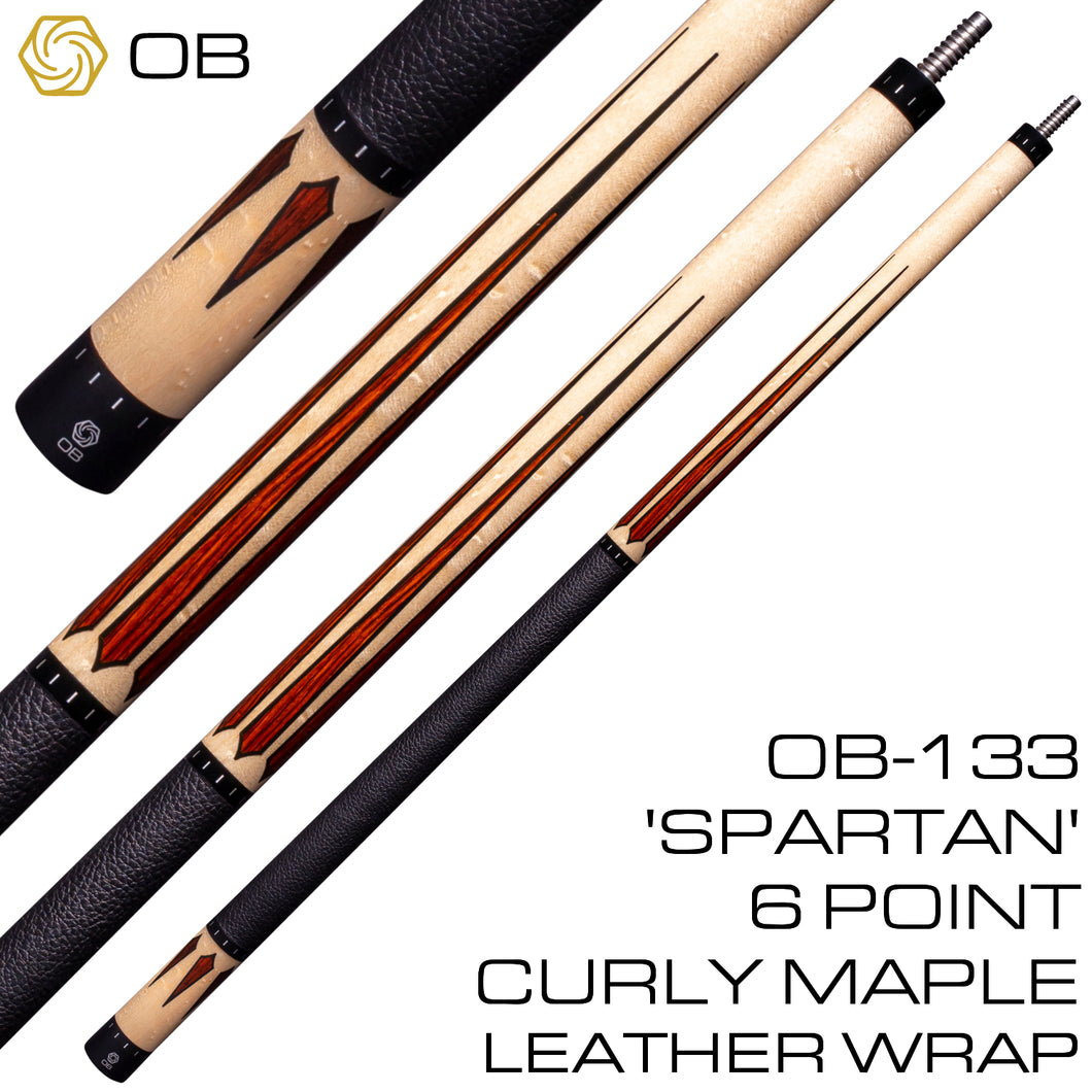 OB-133 Pool Cue - 'Spartan' 6 Point Curly Maple - Leather Wrap