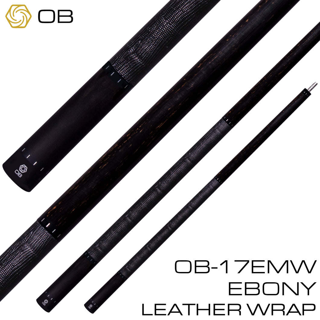 OB-17EMW Pool Cue - Ebony - Leather Wrap